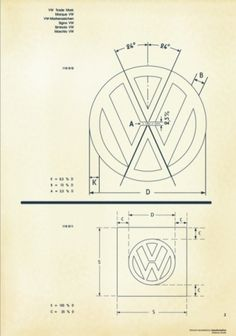 Recreated-Vintage VW Logo Specification Poster For Download | your creative logo designer