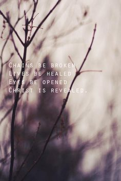 Chains be broken, lives be healed, eyes be opened and Christ is revealed. Scripture Quotes, Bible Verses, Scriptures, Cool Words, Wise Words, Give Me Jesus, Religion, How He Loves Us, Jesus Freak
