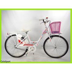 """Bicicletta Cinzia Donna Venere 26"""" in Alluminio completa di accessori - Fantasia Cuori"""