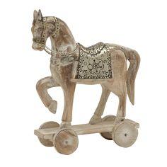 Benzara Attractive Wood Horse 10-inch wide x 14-inch high