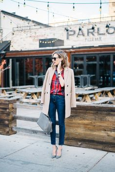 plaid shirt outfit jeans camel jacket