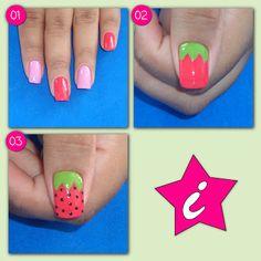 Strawberry Nail Art - Step by step Creative Nail Designs, Colorful Nail Designs, Toe Nail Designs, Creative Nails, Sassy Nails, Love Nails, Strawberry Nail Art, Nail Tutorials, Beauty Tutorials