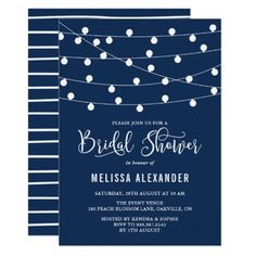 Whimsical String Lights Navy Blue Bridal Shower Card Elegant and whimsical bridal shower invitation featuring white hanging fairy lights on navy blue background. This invitation is perfect for nautical-themed and outdoor events.