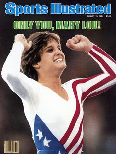 1984 Summer Olympics Closeup of USA Mary Lou Retton victorious after winning Women's All Around Individual competition at Pauley Pavilion Los Angeles...