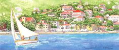 Heading Out by Anne Miller, x watercolour print Watercolor Print, Watercolours, Caribbean, Boats, Sea, Painting, Ships, Painting Art, The Ocean