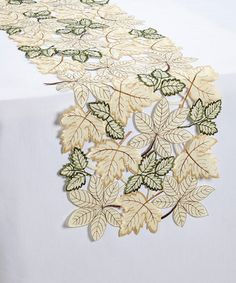 Beige Leaf Embroidery Table Runner By Mera International #