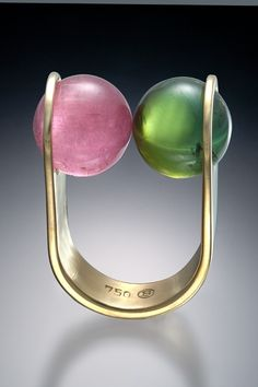 Friedrich Becker Ring - Gold, pink quartz and haematite 1956