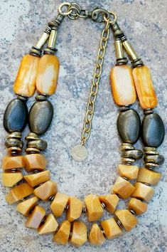 Honey Gold: Honey Gold Jade, Amber Bone, Bronze and Gold Masterpiece Necklace