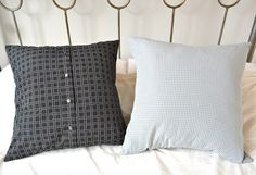 Upcycle a men's shirt into cushions