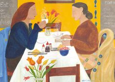 'Ladies Who Lunch' By Painter Dee Nickerson. Blank Art Cards By Green Pebble. www.greenpebble.co.uk
