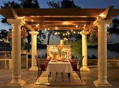 As you are going to dine out then you should cover the roof with some fabric and hang some beautiful lamps with the pillars or you can use some post cap lights to light the pergola. But it will be great if you use candles to light it up. You can put a vase of flowers in the center of dining table and thus your impressive dining room is ready.