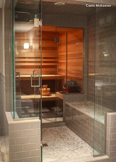 Sauna accessed through a shower in Seattle. Awesome for the winter if I had the space. Home Steam Room, Sauna Steam Room, Sauna Room, Bathroom Design Luxury, Modern Bathroom, Basement Sauna, Steam Room Shower, Sauna Shower, Shower Doors