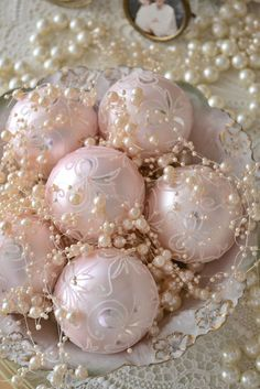 Pink Christmas Glass Ornaments