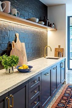 Kitchen Taps, Kitchen Cabinets, Brass Tap, Island Bench, Cabinet Hardware, Marble Top, Kitchen Inspiration, Joinery, Kitchen Design