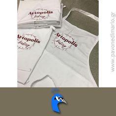 Ποδιές αρτοποιείου από ύφασμα καμπαρτίνα, 35% Polyester - 65% Cotton με κέντημα το logo της επιχείρησης.
