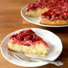Lemon-Strawberry Upside Down Cake - A creamy, bright lemon cake with a caramelized fresh strawberry topping.
