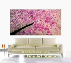 XL Oil Pink Cherry Blossom painting Abstract Original от artmod
