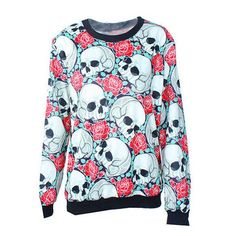 2017 Sping Autumn Skull Skeleton Bones Punk Printed Sweatshirts Harajuku Style Long Sleeve Sudaderas Pullovers Women Tops