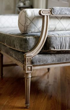 Suzie: CBB Interiors - Stunning French daybed bench with gray velvet cushions with gold trim ...
