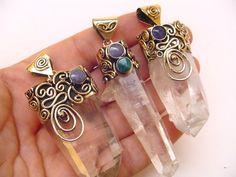 Stunning Peruvian Quartz Crystal Pendantshttp://www.wholesaleperuvianjewelry.com