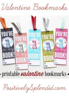 Printable Valentine Bookmarks at PositivelySplendid.com - A great alternative to candy! #yearofcelebrations