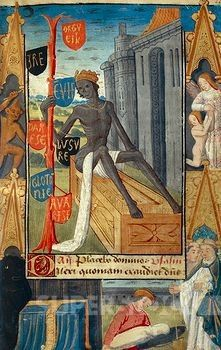 25 of 25 images Death holding the tree of vanity, miniature from the Book of Hours Use of Poitiers, Latin and French manuscript illustrated by a student of Robinet Testard, manuscript 1097 folio 46 recto, France end of 15th Century.