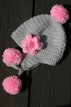 Toddler Girl hat earflap poms crocheted in by Loopedwithlove4U, $20.00