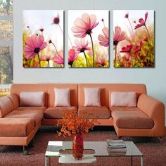 Frame Orchid Wall Painting Flower Canvas Painting Home Decoration Pictur - bdarop Living Room Paint, Living Room Decor, Wall Painting Flowers, Modern Wall Paint, Art Decor, Decoration, Home Decor, Deco Floral, Flower Canvas
