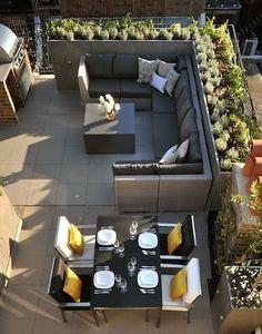 6 Rooftop Terrace Furniture & Stylish Roof Design Ideas - picture for you Roof Terrace Design, Rooftop Design, Patio Design, Home Design, Design Ideas, Interior Design, Design Design, Design Projects, Garden Design