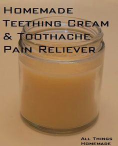 Teething and toothache cream Ingredients:¼ cup coconut oil¼ cup food grade cocoa butter12 drops clove essential oil (this is not safe during pregnancy as it causes contractions)Add you coconut oil and cocoa butter to a small sauce, heat on low until they melt. Add clove oil and stir well.Next pour mixture into a glass container, place in fridge and allow to cool completely. Once cooled, it should be in solid form. Apply a tiny amount onto baby's gums, or to your tooth and feel the pain…