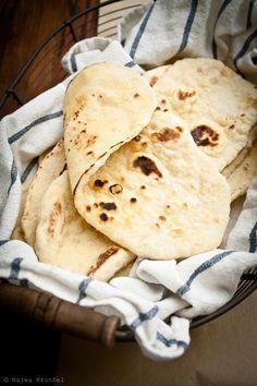 Taboon (Nan) bread ; 3/4 c warm water 1/4 oz dry yeast   1/2 t sugar 2 1/4 c flour 1 t salt 1 T olive oil   1/4 c milk  1 egg 3 T butter