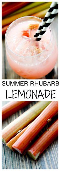 Boozy Summer Rhubarb Lemonade - Recipe Diaries #rhubarb