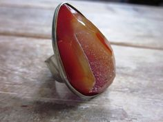 Druzy Agate Orange Silver Tone Adjustable Ring by popins on Etsy, $25.00