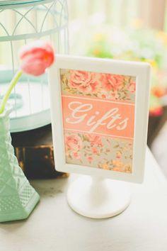 frame the gift sign http://www.weddingchicks.com/2013/10/22/vintage-bridal-shower/