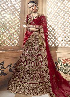 Buy Red Velvet Lehenga With Velvet Choli - Lehenga Choli for Women from Andaaz Fashion at Best Prices. Indian Lehenga, Lehenga Sari, Indian Wedding Lehenga, Bridal Lehenga Choli, Pakistani Wedding Dresses, Pakistani Outfits, Bridal Dresses, Indian Weddings, Lehenga Choli Designs
