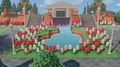 Animal Crossing Qr, Animal Crossing Villagers, Water Pond, Garden Animals, Design Museum, Museum Exhibition Design, Island Design, Animal Games, Waterfall