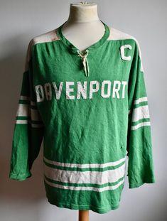 d872debea Vtg 1950s DAVENPORT Uni Green   White Durene Leather Helmet Era Athletic College  Football JERSEY Shirt