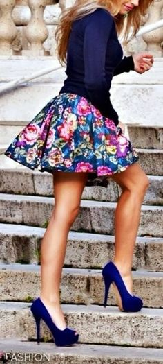 Floral Skirt with Navy Pumps