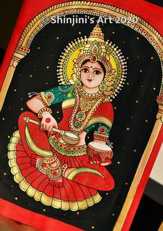 Buddha Painting, Beautiful Christmas Cards, Tanjore Painting, Indian Folk Art, Indian Art Paintings, Hindu Art, Gold Ink, Art Drawings Sketches, Fabric Painting