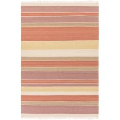 Bungalow Rose Lend a breezy touch to your master suite or dining room ensemble with this eye-catching wool and cotton area rug, featuring tasseled ends and a tonal stripe motif. Rug Size: Rectangle x Orange And Purple, Burnt Orange, Pink Brown, Navy Blue, Thing 1, Outdoor Area Rugs, Latex Free, Online Home Decor Stores