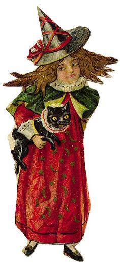 Halloween - Vintage printable -  Little girl and black cat