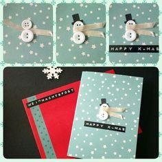 Weihnachtskarte Schneemann & Sterne türkis