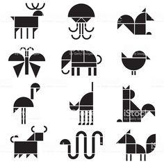 Vector black and white animals pictograms Flower Art Drawing, Art Beat, Illustration Art, Illustrations, Polygon Art, Art Drawings For Kids, Collaborative Art, Art Graphique, Animal Logo