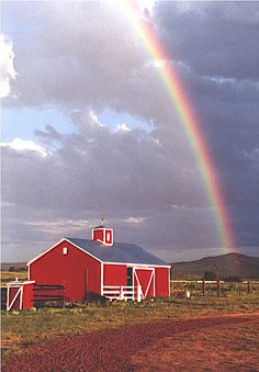 Red Barn with Rainbow