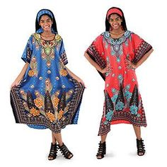 """Look great with this Exotic Peacock Kaftan. Fits up to 60"""" bust. 52"""" length. Matching head scarf. 100% polyester. Hand wash in cold water. No bleach. Tumble dry"""