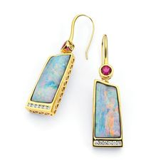 Earrings in 18k yellow gold with 25 cts. t.w. boulder opals, 1 ct. t.w. rubellite, and 0.38 ct. t.w. diamonds.