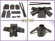 How I make Blythe doll leather jacket by Hegemony77 doll clothes, via Flickr (make a bit bigger for MH)