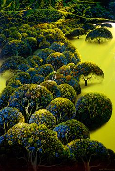 Eyvind Earle, background artist for Disney's Sleeping Beauty, and prolific gallery artist.