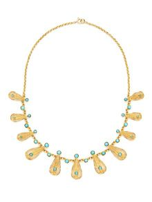 Vintage Turquoise & Gold Filigree Teardrop Necklace by Portero Luxury at Gilt