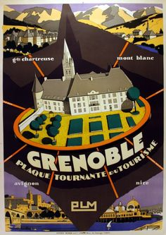 Lot:Art Deco PLM France Railway Poster Grenoble Ski Riviera, Lot Number:1001, Starting Bid:£125, Auctioneer:AntikBar,…